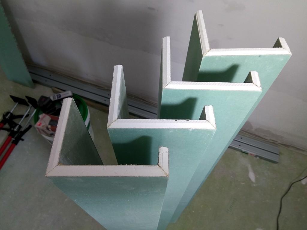 Fertig geklebte Gipskarton-Formteile