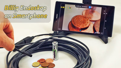 USB-Endoskop mit OTG-Adapter an Android Smartphone